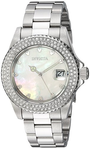 Invicta Women's 'Disney Limited Edition' Quartz Stainless Steel Casual Watch, Color:Silver-Toned (Model: 22730)