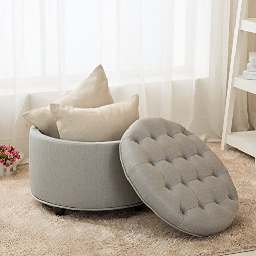 Yongchuang Circular Large Modern Style Tufted Floding Storage Ottoman, 23.6 x 23.6 x 17.7 inches (Ottoman Circle Storage)