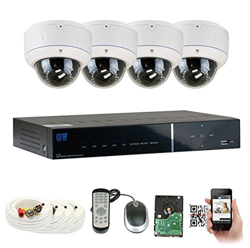 GW Security 4 Channel HD-AHD DVR Security System, QR-Code Connection, 4 Day Night 1080P @30fps High Resolution Weatherproof 2.8~12mm Varifocal Dome Cameras CCTV Surveillance System 2TB HDD