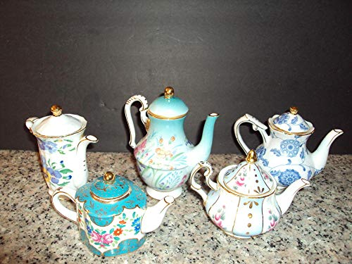 "5 Nantucket Mini Porcelain Teapots Gold Trim Floral Designs Collectors 3"" EUC"