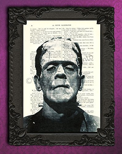 Halloween Frankenstein decorations spooky all hallows eve artwork antique scary portrait decor wall art print -