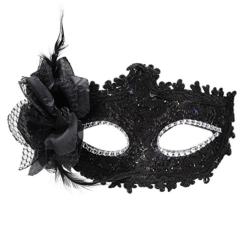 Masquerade party mask Venetian of realistic silicone masquerade half face Mask Halloween Costume (Black)