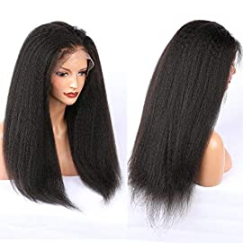 ALYSSA Hair Kinky Straight Human Hair Lace Front Wigs For Black Women Coarse Yaki 150density Glueless Full Lace Wig 10-24INCH Natural Color