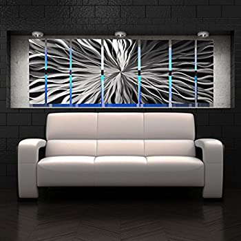 this item modern abstract metal wall art large panels cosmic energy led color changing sculpture painting decor uk ebay