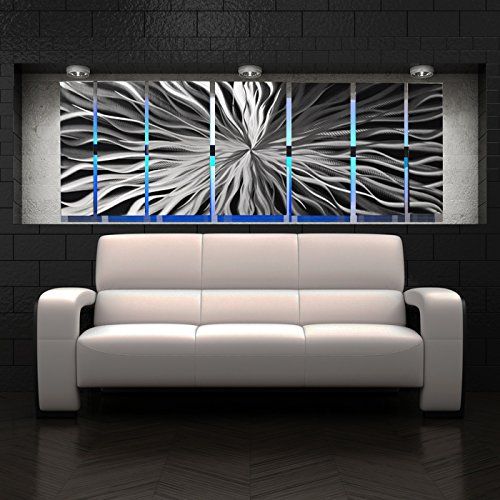 "Modern Abstract Metal Wall Art Large Metal Art Panels ""Cosmic Energy, LED"" Color Changing LED Sculpture Painting Decor RGB"
