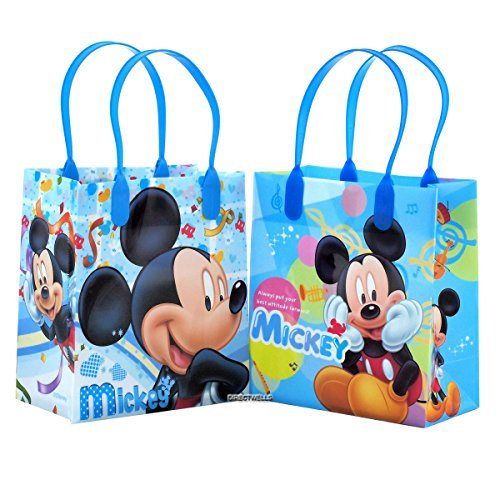Disney Mickey Mouse Reusable Party Favor Goodie Small Gift Bags 12 (12 Bags) -