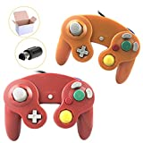 Cheap Poulep 2 Packs Classic Wired Gamepad Controllers for Wii Game Cube Gamecube Console (Orange1 and Red1)
