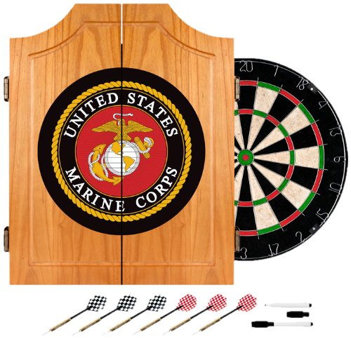 United States Marine Corps Wood Dart Cabinet Set by Trademark Gameroom