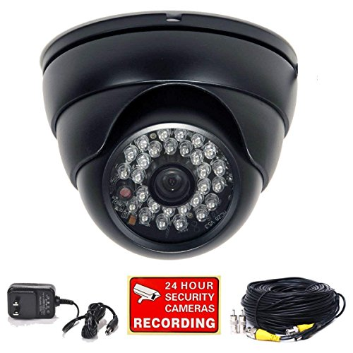 VideoSecu 700TVL Dome Surveillance CCTV Security Camera Built-in SONY Effio CCD Outdoor Day Night IR Infrared Wide Angle High Resolution with Bonus Power Supply and Extension Cable 1YW