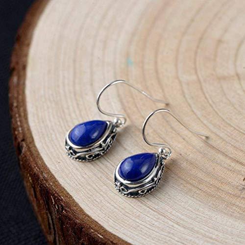 S925 Silver Vintage Thai Silver Earrings Women Fashion Silver Inlay Drops Lapis Lazuli Earrings, WOZUIMEI, As Shown, 925 Silver