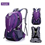 Gooteff Waterproof Hiking Backpack Ultra Lightweight 25L with Chest Strap and Waist Strap Climbing Fishing Daypack Trekking Camping Hunting Outdoor Bag for Men Women Youth (Purple)