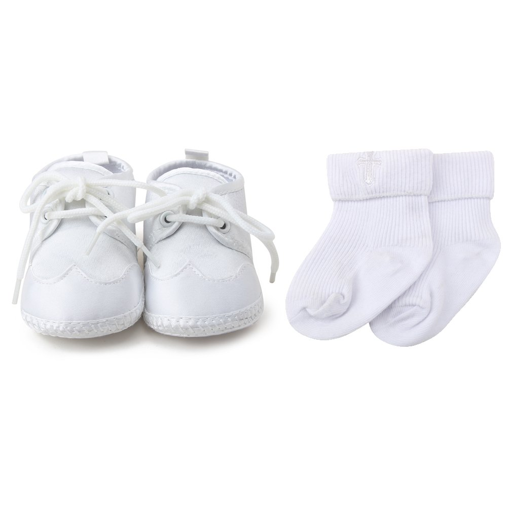 OOSAKU Boys White Lace up Christening Baptism Dress Shoes (0-6 Months, Shoes & Scoks)