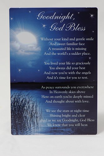 Goodnight God Bless Blue Grave Memorial Card Amazoncouk