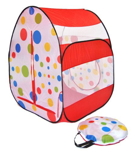 Red Play Tent - Cute Red Polka Dot Twist Play Ball Tent House for Kids w/ Safety Meshing for Child Visibility & Tote Play Tent