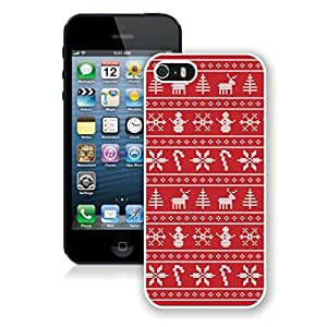 Individualization Red Strip Snowflakes Christmas Decoration Iphone 5s Case,Phone Case For Iphone 5,Iphone 5 White TPU Cover