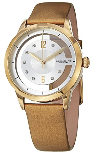 Gold Case Champagne Dial (Stuhrling Original Women's 946L.03 Analog Winchester Quartz Swarovski Crystal 23k Gold-Layered Case Champagne Genuine Leather Strap Watch)