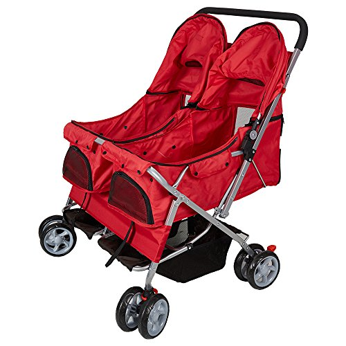 Livebest Folding 4-Wheels Pet Stroller Small Animals Carrier Easy Walk Travel Jogger with 360 Rotating Front Wheel for Two Cats or Dogs by Livebest (Image #3)