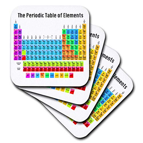3dRose The Periodic Table of Elements - Soft Coasters, Set of 4 ()