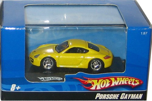 Hot Wheels Yellow Porsche Cayman 1:87 Scale in Collectors Ca
