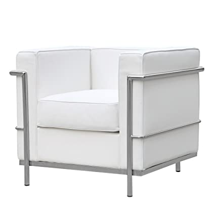 Fine Mid Century Modern Classic Le Corbusier Lc 2 Style Replica Cube Sofa Chair 1 Seater With Premium White Genuine Leather And Encasing Stainless Steel Spiritservingveterans Wood Chair Design Ideas Spiritservingveteransorg