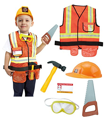 GradPlaza Construction Worker Costume Children Role Play Set Orange
