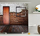Ambesonne Antique Decor Shower Curtain Set, Picture Frame Put On A Damaged Brick Wall In Aged Old Room Rustic Wooden Floor, Bathroom Accessories, 69W X 70L Inches