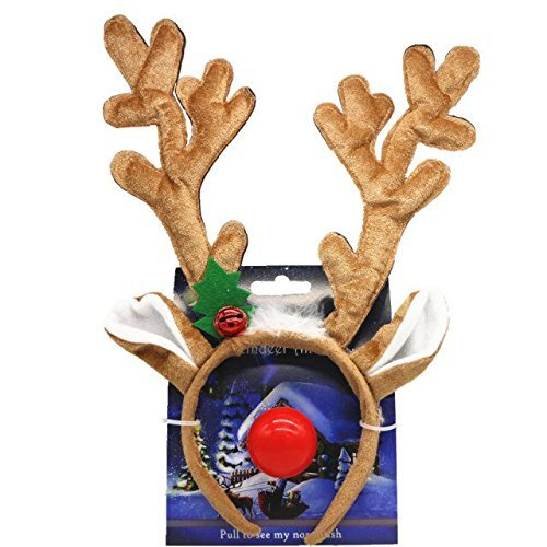 LACGO Reindeer Antlers and Light-up Blinking Flashing Nose for Christmas Holiday (with Red Flashing Nose)