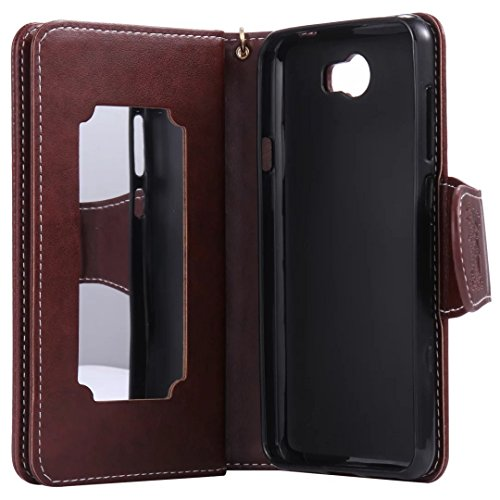 Ultra Slim Case para Huawei Y5 II Funda Libro Suave PU Leather Cuero- Sunroyal ® Bookstyle Cobertura Wallet Case Con Flip Cover Cierre Magnético,Función de Soporte Billetera con Tapa para Tarjetas Pro A-08