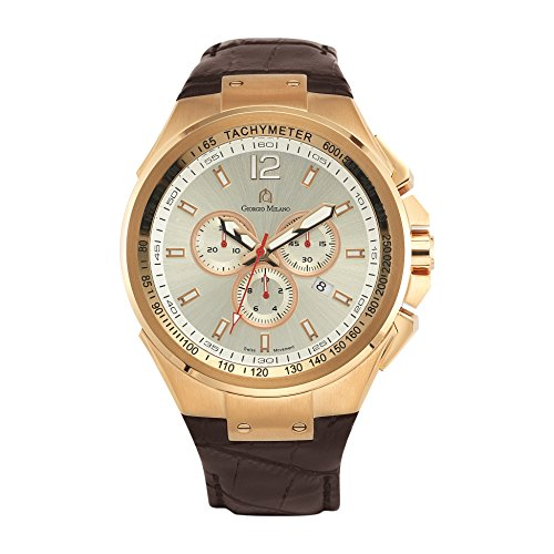 Giorgio Milano 964RG023 Stainless Steel Rose Gold Tone Swiss Quartz Chronograph with Date Leather Watch