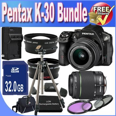 Pentax K-30 Digital Camera with 18-55mm AL and 50-200mm AL Lens Kit (Black) + 32GB SDHC Class 10 Memory Card + Extended Life Battery + External Rapid Travel Quick-Charger + USB Card Reader + Memory Card Wallet + Shock Proof Deluxe Case + 3 Piece Professional Filter Kit + Super Wide Angle Lens + 2x Telephoto Lens + Professional Full Size Tripod + Accessory Saver Bundle! (Pentax Charger Rapid)