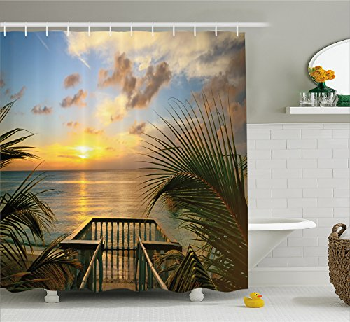 Farm House Decor Shower Curtain by Ambesonne, Mediterranean Horizon Sea from Wooden Terrace Balcony Fences Holiday Life Photo, Fabric Bathroom Decor Set with Hooks, 70 Inches, Multi (Mediterranean Terrace)