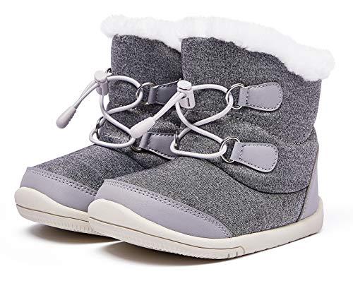 BMCiTYBM Baby Snow Boots Boys Girls Winter Infant Shoes Anti-Slip 6 9 12 18 24 Months Faux Fur Gray Size 5