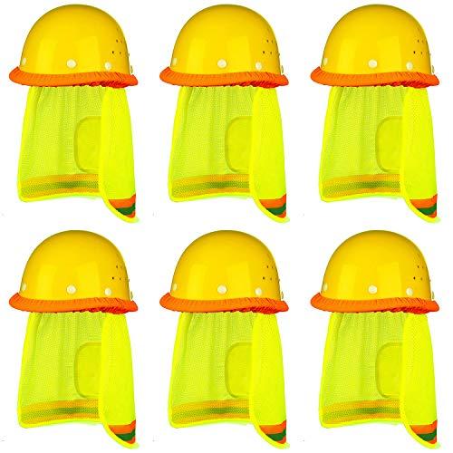 Trounistro 6 Pack Hard Hat Sun Shield Full Brim Mesh Neck Sunshade with Reflective Stripe Mesh Sun Shade Protector ()