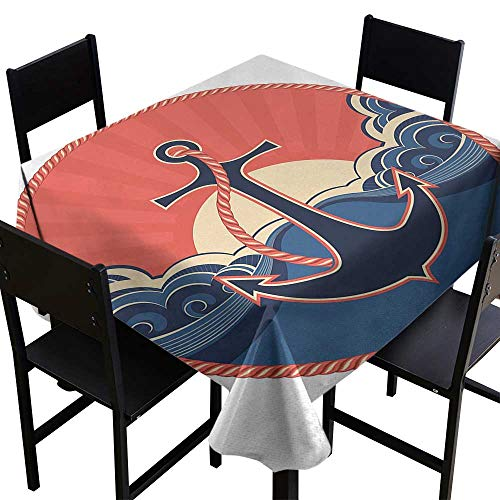 Anchor Washable Table Cloth Navy Label with Robe and Sea Waves at Sunset Anchor Retro Aquatic Life Icons Indoor Outdoor Camping Picnic W60 x L60 ()