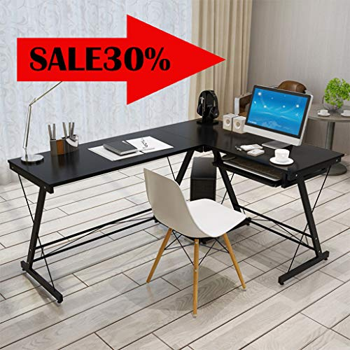 VEZARON L Shaped Desk Home Office Desk with Round Corner.Computer Desk with Large Monitor Stand,PC Table Workstation62.2 x 18.9 x 28.7 inches Black (Black)