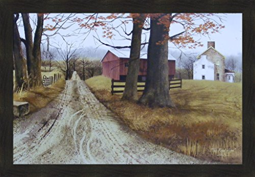Primitive Country Framed Picture (The Road Home by Billy Jacobs 28x40 Country Farm Barn Landscape Primitive Folk Art Print Wall Décor Framed Picture)