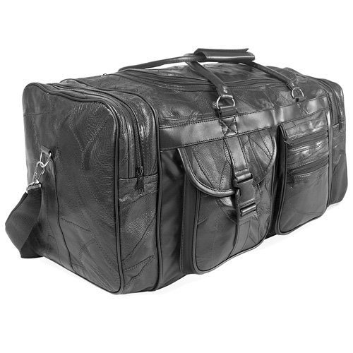 2980 23'' BLACK LEATHER PATCHWORK DUFFLE BAG