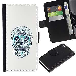 Stuss Case / Funda Carcasa PU de Cuero - Cráneo Teal blanco del estampado de flores de la Muerte - Apple Iphone 4 / 4S
