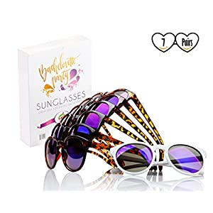 Felitsa Bachelorette Party Sunglasses - 7 Pairs of Bride Tribe Glasses - Perfect for Bridesmaid Gifts, Bridal Shower and Bachelorette - Great bachelorette party decorations