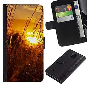 JackGot ( Tramonto Beautiful Nature 61 ) Samsung Galaxy Note 4 IV la tarjeta de Crédito Slots PU Funda de cuero Monedero caso cubierta de piel