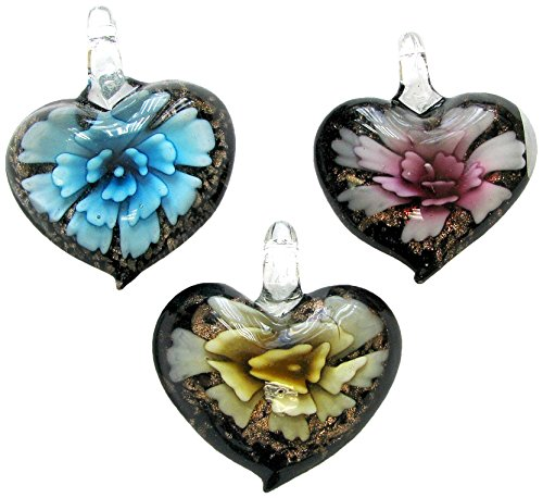 Linpeng Puffy Heart Millefiori Chunky 3 Pcs Set Murano Glass Pendant, Blue Pink - Gold Pendant Glass Murano