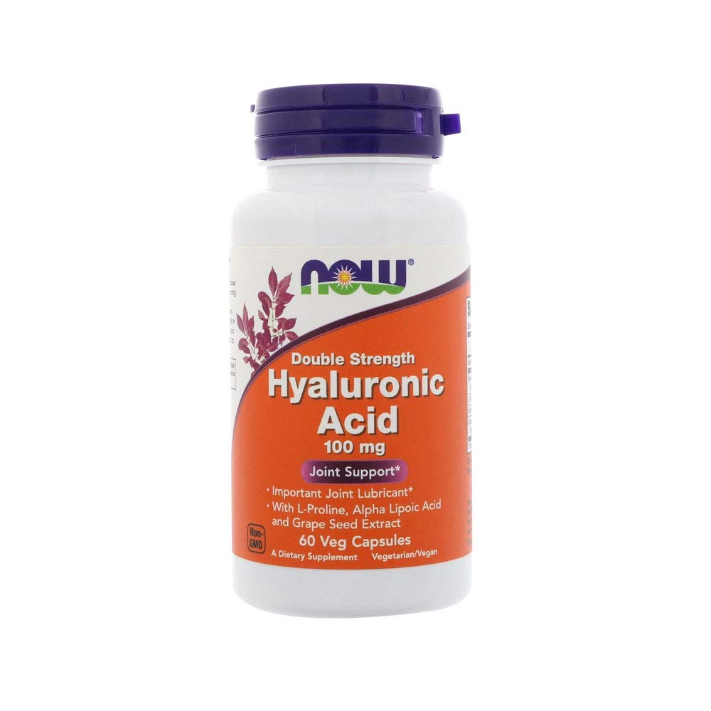 Now Supplements, Hyaluronic Acid 100 mg, Double Strength with L-Proline, Alpha Lipoic Acid and Grape Seed Extract, 60 Veg Capsules by NOW Foods