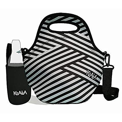 b2805654c93a Lunch Bags for Women Insulated Adult Neoprene Lunch Bag with Black Bottle  Sleeve Set. Striped