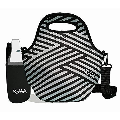 Neoprene Lunch Bags for Women with Shoulder Strap. Insulated Lunch Tote with Bottle Sleeve Set. Striped Black and White Women/Girls lunchbox. Women Lunch Bags Insulated for Work.
