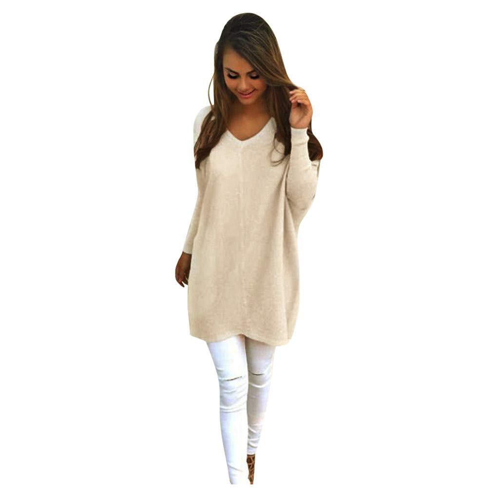 SHUSUEN Women's V-Neck Long Sleeve Tunic Tops Loose Casual Knit Pullover Sweater Blouse Khaki by SHUSUEN