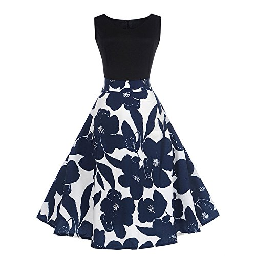 Hot Sale! Women Dress sfe Retro 50s Audrey Hepburn Style Blue Flower Pattern Sleeveless Dresses For Dinner Party Wedding (S, Black) ()