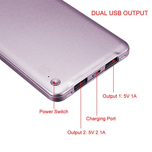 uxcell 8000mAh Portable Charger, Extremely Thin, Power Bank, Dual USB Ports, for iPhones, Android, iPads, Tablets, MP3, MP4 Players and Cameras, Purple by uxcell (Image #2)