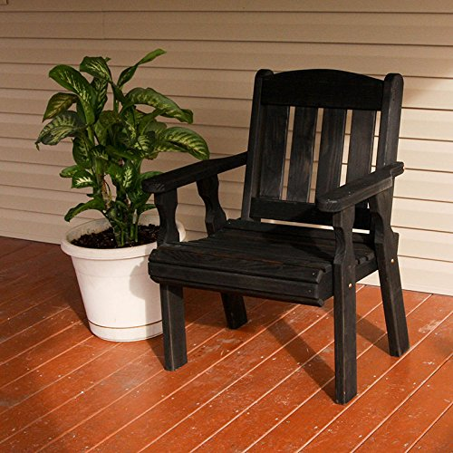 Amish Heavy Duty 600 Lb Mission Pressure Treated Patio Chair (Semi-Solid Black Stain)