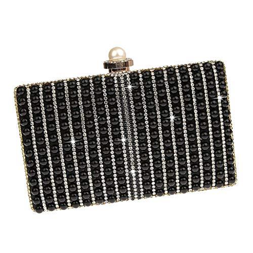Cristalino Mujer Hombro Ipotch Mano Con Bolsa Regalo Bolso Cadena Cumpleaños Navidad De Extraíble Negro Para tOtqUS