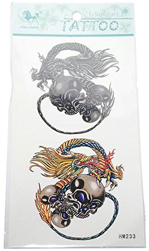 Temporary Tattoos with Skulls and Dragon